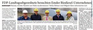 20141101 FDP-Landtagsabgeordnete besuchten Emder Biodiesel-Unternehmen OZ