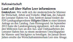 20150126 Land soll über Hafen Leer informieren EZ
