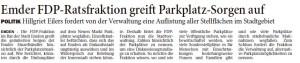 20150906 Emder FDP-Ratsfraktion greift Parkplatz-Sorgen auf OZ
