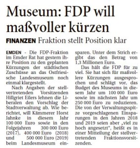 20160224 Museum - FDP will maßvoller kürzen OZ