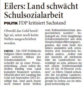 20160615 Eilers - Land schwächt Schulsozialarbeit OZ