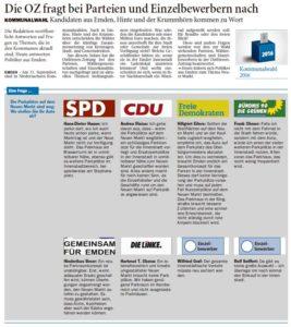 20160812 Die OZ fragt bei Parteien und EInelbewerbern nach OZ