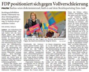 20170213 FDP positioniert sich gene Vollverschleierung OZ