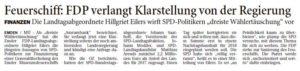 20170829 Feuerschiff - FDP verlangt Klarstellung von der Regierung OZ